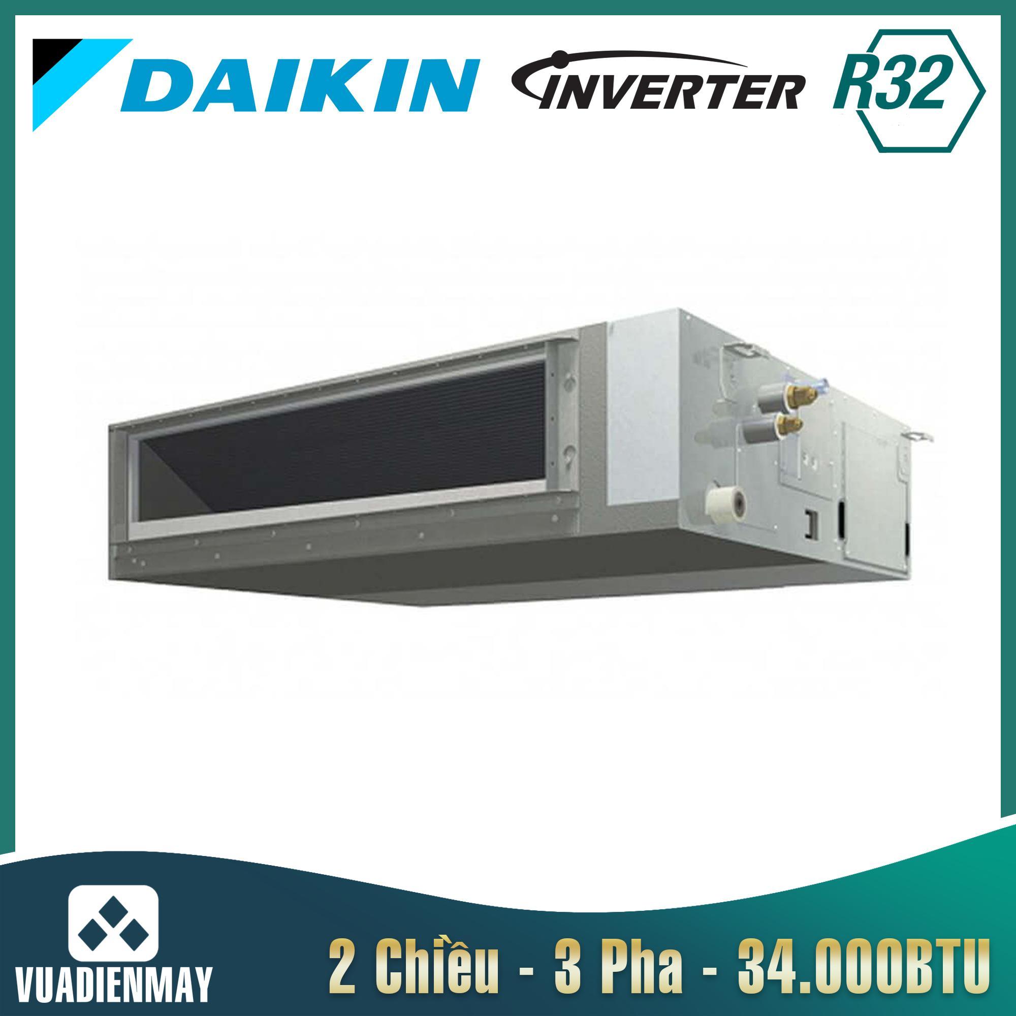 Điều hòa âm trần nối ống gió Daikin 34000BTU 2 chiều inverter 3 Pha